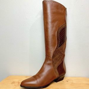 Vaneli Brown Leather Suede Western Boots